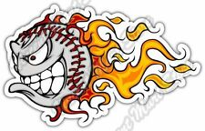 "Angry Baseball Flame Pitcher MLB Smile Car Bumper Vinyl Sticker Decal 5""X3.5"""