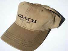 NEW! Dark Khaki Genuine COACH NEW YORK Men's Leather Brim, Cotton Ball Cap