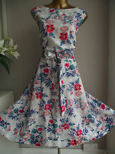MONSOON BLUE RED FLORAL 50'S ROCKABILLY VINTAGE PROM FIT N FLARE SUMMER DRESS 22