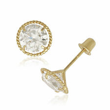 14K Yellow Gold Cubic Zirconia Stud Rope Border Screwback Earrings