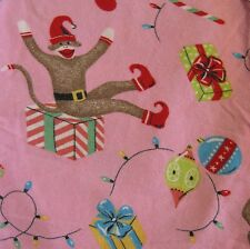 Nick & Nora Pink Sock Monkey Xmas Stocking Elf XL Pajama Pants Flannel PJ Lounge
