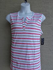 Kim Rogers Cotton Jersey Sleeveless Split Y Necline Top 2X White multi  $32 msp