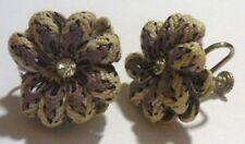 boucles d'oreilles bijou ancienne pas de vis fleur tissus cristal diamant *470
