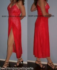 "1x/2x  red LONG NIGHTGOWN w/SIDE SLIT LINGERIE plus size 46"" bust"