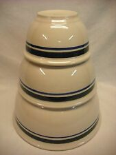 3 Piece Gibson China Ceramic Nesting Mixing Bowls W/ Green and Blue Stripe Heavy