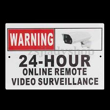 CCTV Video Surveillance Security Camera 24 Hour Warning Sticker Sign Decal Metal