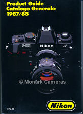Nikon Product Guide 1987/8 Full Details on Cameras & Lenses. Other Books Listed.