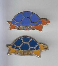 2 RARES PINS PIN'S .. ANIMAL TORTUE TURTLE TECKWELL COULEUR COLOR DIFFERENT  ~9A