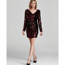 NWT .  Aqua Red Sequin Cowlneck Long-Sleeve Blouson Party Dress. $228  Size 4