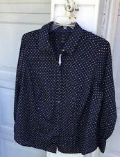 NWT Talbots Wrinkle Resistant Navy With White Polka Dot Cotton Blouse 20W 2X