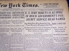 1938 JUN 21 NEW YORK TIMES - U. S JURY INDICTS 18 AS SPIES IN REICH GOV - NT 691
