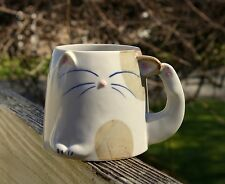 "Spotted Kitty Cat Pottery Coffee Mug Cup Ear Scratch Whiskers 3 1/8"" Tall"