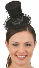 Womens Mini Black Top Hat Gothic Spider Web Lace Headband Victorian Costume
