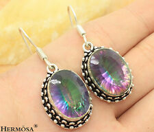 67% OFF 925 Sterling Silver Vintage Fire Mystical Topaz For Women Hot Earrings