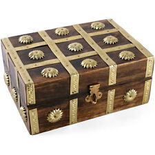 Studded wood jewelry box pirate treasure chest with medieval brass strips studs