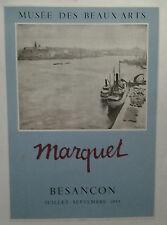 AFFICHE ORIGINALE ANCIENNE EXPOSITION MUSEE DES BEAUX ARTS MARQUET BESANCON 1955
