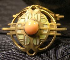 Beautiful Vintage 14 K Solid Yellow Gold Art Deco Pink Coral Pin Brooch