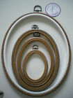"OVAL WOODGRAIN Effect FLEXI HOOP Embroidery Frame Various Sizes 2.5"" - 10"""