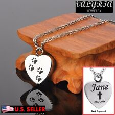 Engraved Personalized Paw Traces Heart Cremation Jewelry Keepsake Urn Necklace