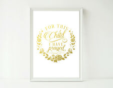 REAL Foil Print For this Child I Prayed Poster Prints Nursery Baby Scripture Art