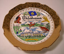 Oklahoma Souvenir Plate with Lovely Wide 22K Gold Edge - Vintage Porcelain (P51)
