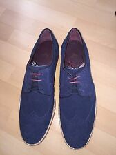 Brand New Men's Ted Baker Designer Brogue Shoes in Suede Blue, size 10