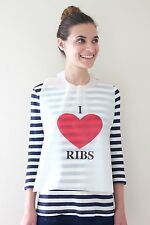 DISPOSABLE I LOVE RIBS BIBS  100 PACK  PLASTIC FREE SHIPPING