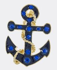 NAUTICAL BOAT ANCHOR COBALT BLUE RHINESTONE & ENAMEL BROOCH AND PENDANT
