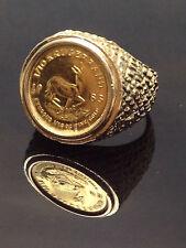 14K GOLD VINTAGE 1983 SOUTH AFRICA KRUGERRAND 1/10oz FINE COIN NUGGET RING 8 1/2