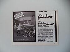 advertising Pubblicità 1968 PASSEGGINO CARROZZINA NINNA NANNA NIZZA GIORDANI