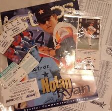 Lot 1996 NOLAN RYAN HOUSTON ASTROS RETIRED NUMBER PIN W/ Ticket Stubs Mag + More