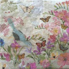 10 Paper Napkins Decoupage Secret Garden Bluebird Floral Luncheon Craft Punch