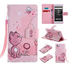 Pink Cat Magnetic Flip Cover Stand Wallet Leather Case For Various Phone Models