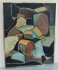 AWESOME Vintage Mid Century Modern SIGNED Modernist CUBIST Abstract OIL PAINTING