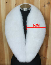 X-Large Long 100% Real Full Fox Fur Collar Scarf Scarve Natural White 105CM*16CM