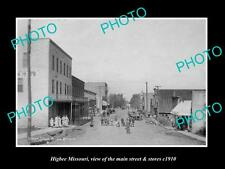 OLD LARGE HISTORIC PHOTO OF HIGBEE MISSOURI, THE MAIN STREET & STORES c1910 2