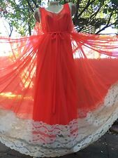 Spectacular 1970's Intime Tangerine Orange Chiffon Robe & Nightgown Set