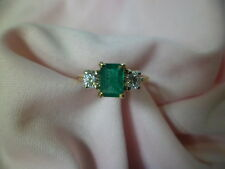 14k yellow gold emerald and diamond ring size 7.5