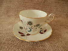 Regency English Bone China Cup & Saucer,  Blue Flowers w/Brown Leaves