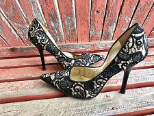 *bLaCk LaCe* 7.5 Embroidered Nude Pointy Toe CARRIE Stiletto Heels PUMPs GuESS
