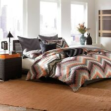 3-Pc Linen House Fedora Embroidered King Duvet Set Geometric Chevron Abstract
