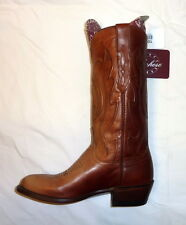 Lucchese M1004 Mens Size 7D Medium Cole Western Cowboy Boots Leather TAN NEW!