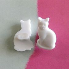 20 Cat Pet Novelty Cardmaking  Kid Sewing Buttons Scrapbooking White K351