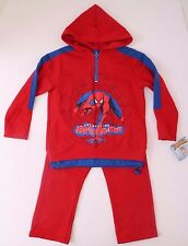 Marvel Comics The Amazing Spider-Man Kids Boys Red Track Suit Set Size 4 NWT