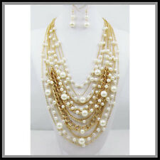 CHAIN LONG FAUX GOLD  PEARLS WEDDING BRIDAL LAYERS CHUNKY NECKLACE STATEMENT SET