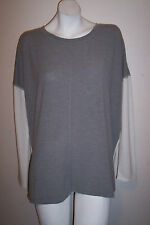 Serena Williams Top M White Gray Hi Lo Hem Loose Oversized Tunic Shirt Bust 50""