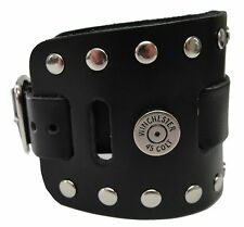 Wide Black Leather Watch Band Winchester Colt 45 Cap Handmade USA Buckle Closure