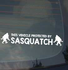 Vehicle Protected By Sasquatch Decal Sticker Funny Yeti Bigfoot Camping Hunting