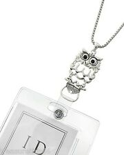 Owl Filagree Charm ID Badge Tag Key Holder Necklace Silver Chain Lanyard