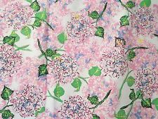 Vtg Retro Floral Fabric SHOWER CURTAIN Hydrangea EUC! Cottage Pink Blue Green